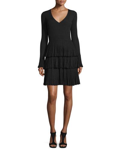 Sharlynn Tiered Pissé Knit Dress, Black