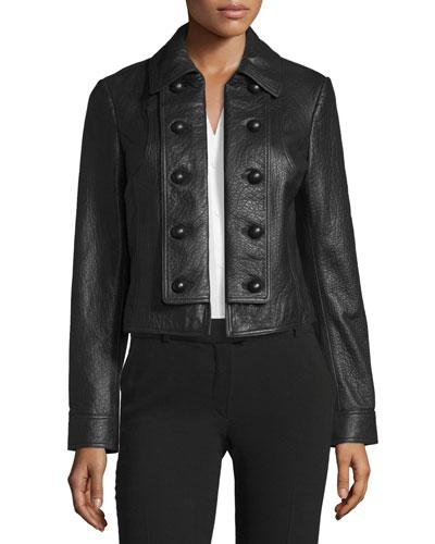 Sergeant Leather Military Jacket, black