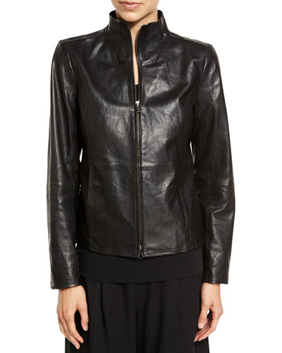 Fisher Project Leather Zip-Front Jacket, Black