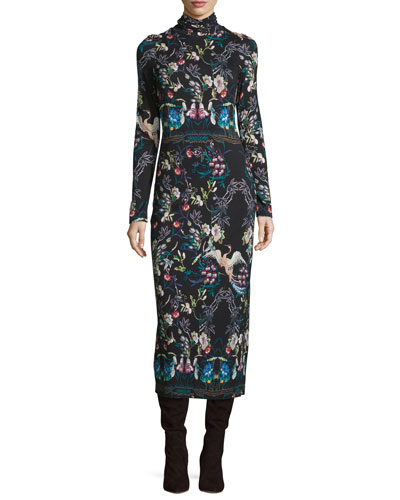 Delora Printed Turtleneck Midi Dress