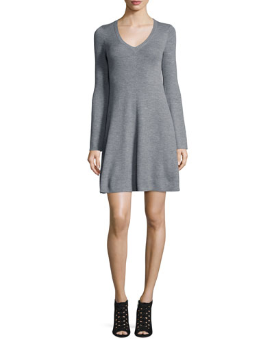 BCBGMAXAZRIA Althea Merino Wool V - Neck Sweater Dress