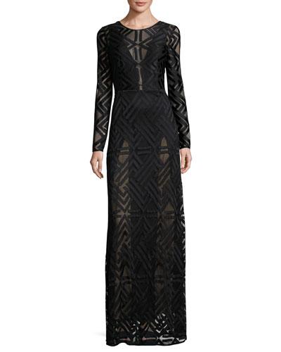 Veira Long-Sleeve Lace Maxi Dress