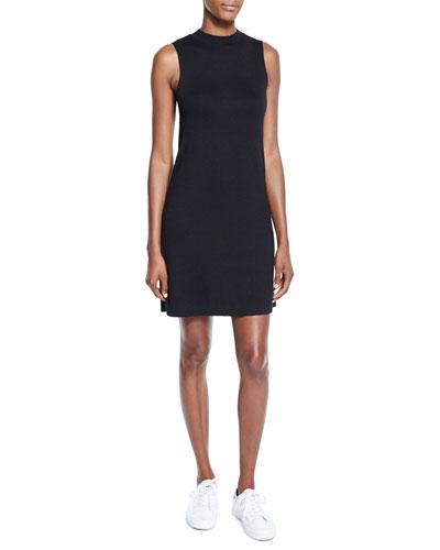 Hudson Mock-Neck Knit Shift Dress, Black