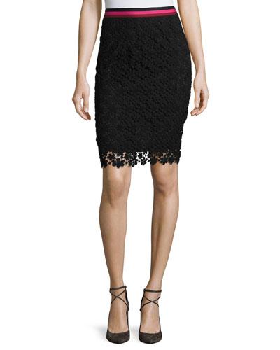 Floral Lace Pencil Skirt, Black
