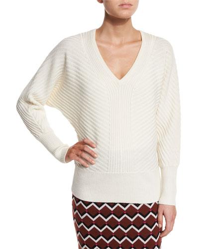 Dolman-Sleeve Wool V-Neck Sweater, Whitewash