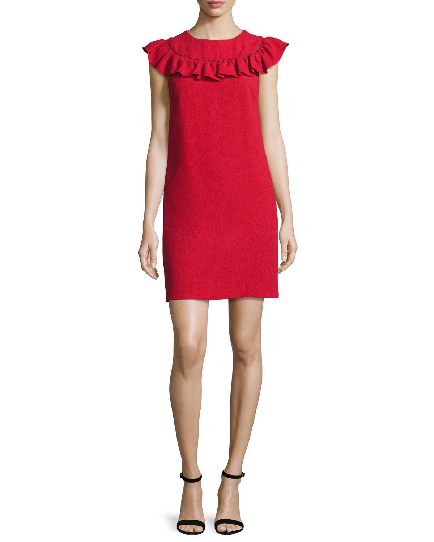 Sleeveless Crepe Ruffle-Trim Shift Dress, Ruby Rose