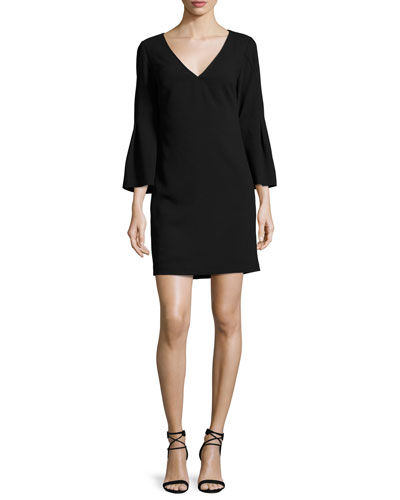 3/4-Sleeve V-Neck Shift Dress, Black