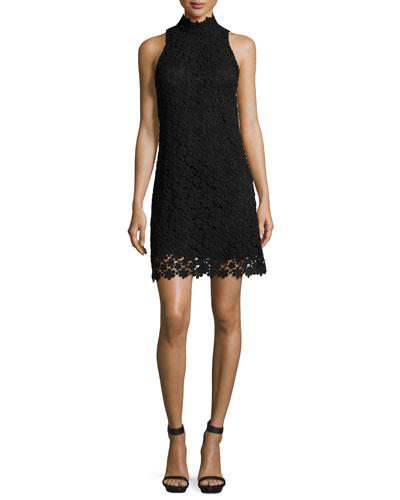 Sleeveless Mock-Neck Floral Lace Shift Dress, Black
