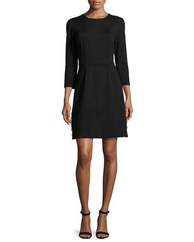 3/4-Sleeve Ponte A-Line Dress, Black
