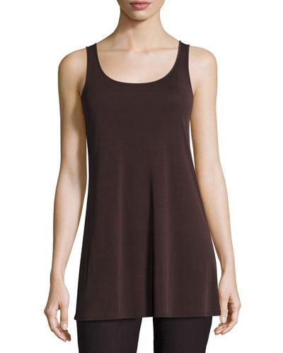Jersey Sleeveless Scoop-Neck Tunic, Clove, Plus Size