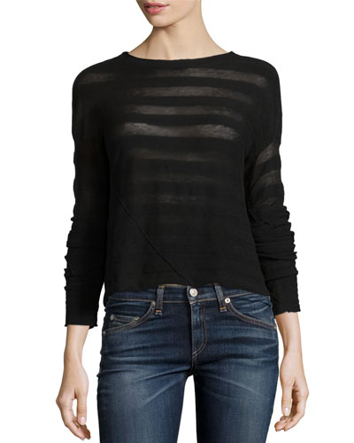 Arleen Striped Pullover Sweater, Black