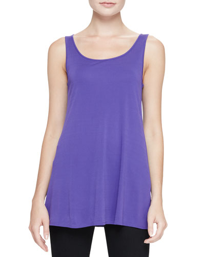 Jersey Sleeveless Scoop-Neck Tunic, Poppy