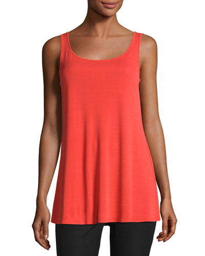 Jersey Sleeveless Scoop-Neck Tunic, Poppy, Plus Size
