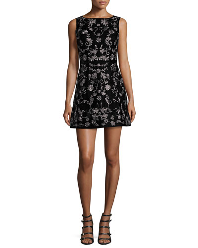 Lindsey Embroidered Mini Dress, Black