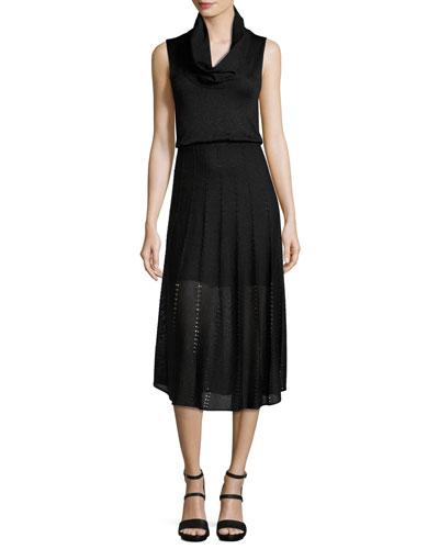 Jacey Cowl-Neck Blouson Dress, Black