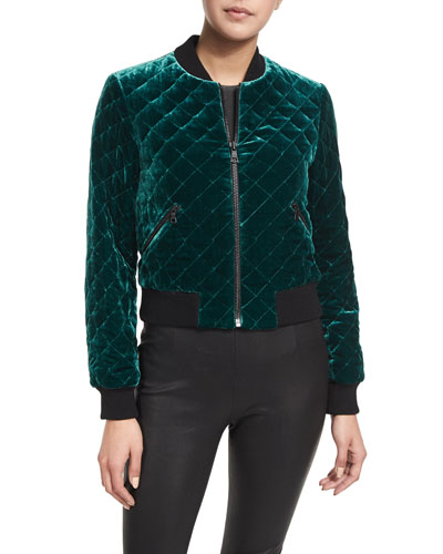 Demia Quilted Velvet Bomber Jacket, Turquoise