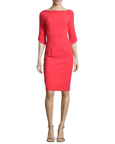 3/4-Sleeve Structured Ponte Sheath Dress, Chic Red