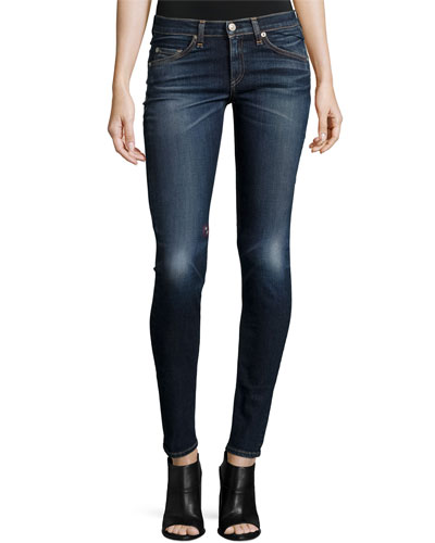 Low-Rise Skinny Embroidered Jeans, Baker