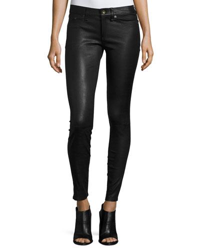 Skinny Leather Ankle Pants, Black