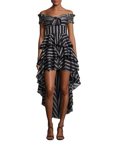Artemis Off-the-Shoulder Striped High-Low Dress