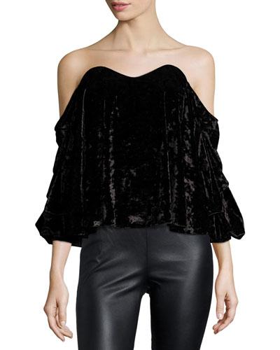 Gabriella Off-the-Shoulder Velvet Bustier Top, Black