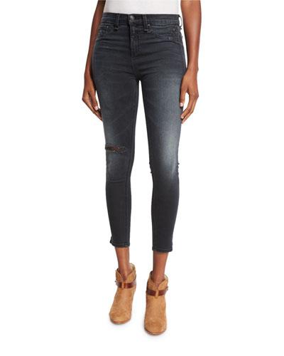 10 Inch Capri Jeans w/Slit, Steele Gray