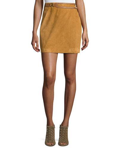 Belted Suede Wrap Skirt, Sand