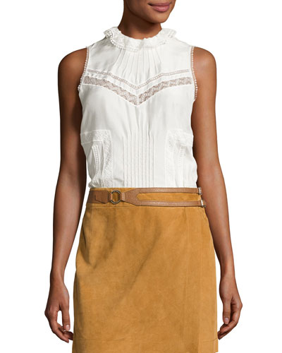 Sleeveless Pintucked Silk Peplum Blouse, Soft White