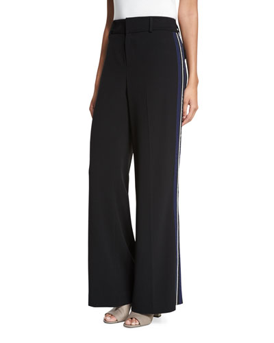 Crepe Wide-Leg Side-Stripe Trousers, Black