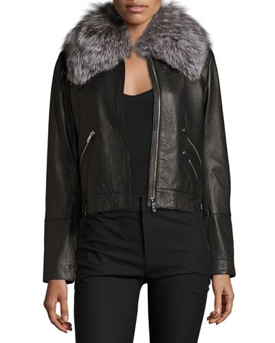 Leather Zip-Trim Bomber Jacket, Black