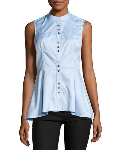 Sleeveless Poplin Peplum Top, Oxford Blue