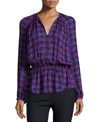Long-Sleeve Printed Silk Blouse, Cobalt/Multicolor