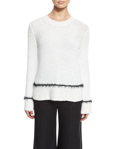 Long-Sleeve Ribbed Wool-Blend Sweater, White/Black