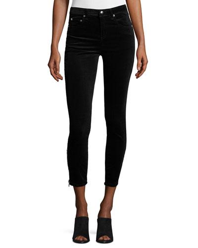 7 Inch Zipper Velvet Capri Jeans, Black