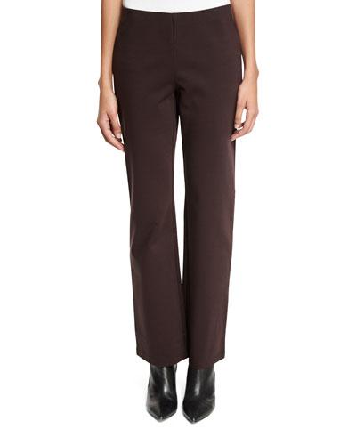 Ponte Straight-Leg Pants, Clove, Petite