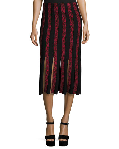 Jude Solid & Printed Car-Wash Skirt, Pomegranate