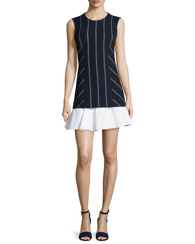 Sleeveless Striped Flounce Dress, Midnight