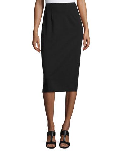 High-Waist Ponte Pencil Midi Skirt, Black