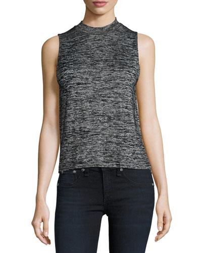 Hudson Heathered Mock-Neck Open-Back Top, Black/Gray