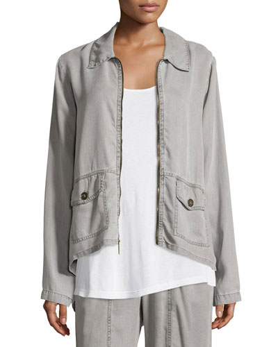 Alessandra Zip-Front Twill Jacket, Plus Size