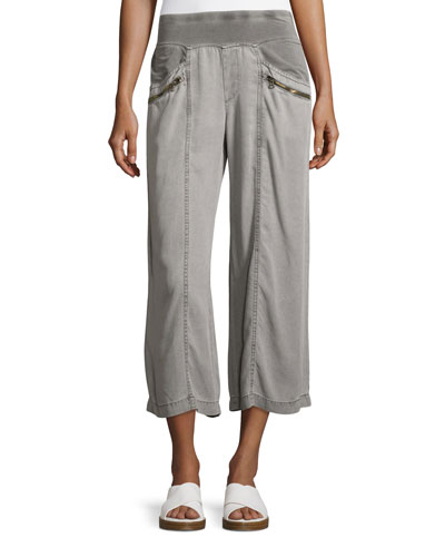 Haruko Cropped Tencel® Pants, Rock Pigment