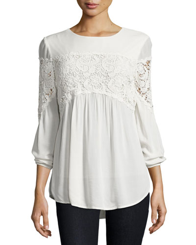 Aubree Floral-Crochet Top, Sugar