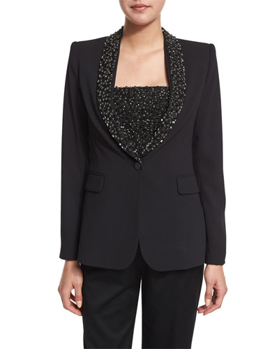 Macey Embellished Strong-Shoulder Blazer, Black