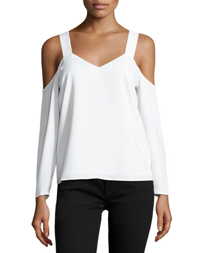 Zoya Cold-Shoulder Top, White
