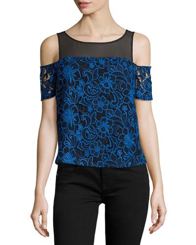 Emma Cold-Shoulder Embroidered Lace Top, Blue