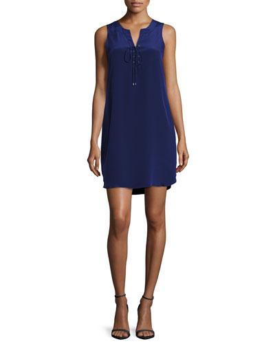 Michaela Lace-Up Silk Shift Dress, Navy