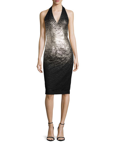 Ombre Foil Halter Cocktail Dress, Silver/Black