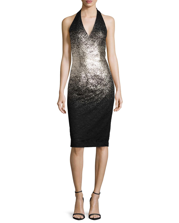 Ombre Foil Halter Cocktail Dress, Silver/Black