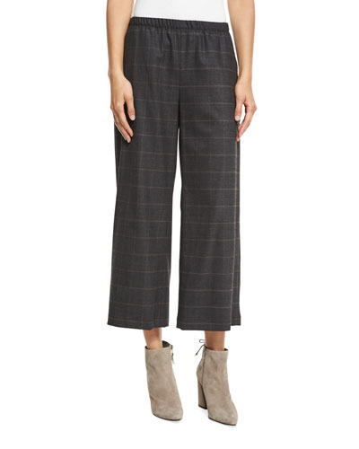 Fisher Project Plaid Wide-Leg Cropped Pants