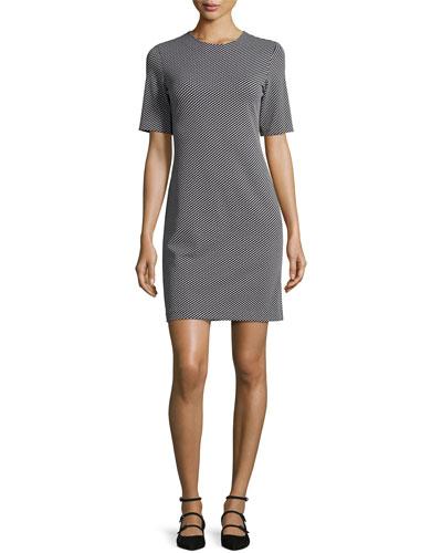 Theory Dresses RIJIK B CLAYMONT SHORT-SLEEVE SHEATH DRESS, BLACK/WHITE